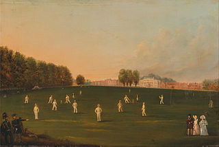 First Grand Match of Cricket Played by Members of the Royal Amateur Society on Hampton Court Green, August 3rd, 1836