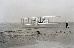 Wright Flyer - Seconds into the first airplane flight, at Kitty Hawk, North Carolina; December 17, 1903, Photo first published in 1908