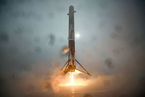 Jason-3 - First stage of Falcon 9 Flight 21 descending over the floating landing platform, January 17, 2016