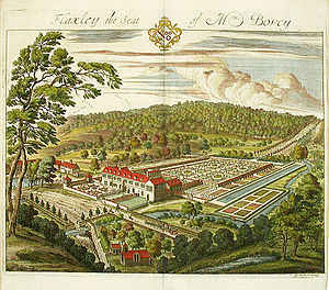"Flaxley Abbey -  ""Flaxley the seat of Mrs Bovey"", Flaxley Abbey, 1712 engraving by Johannes Kip."