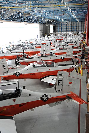 Training Air Wing Five - T6-Bs from TW-5 in hangar at NAS Whiting Field in 2012.