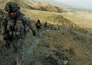 Special Troops Battalion, 1st Brigade Combat Team, 10th Mountain Division (United States) - 10th Mountain Division troops from the 1st Battalion, 32nd Infantry hike through Kunar Province.