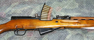 SKS - The SKS can be quickly reloaded using disposable 10-round stripper clips. Note that the safety is in the fire position