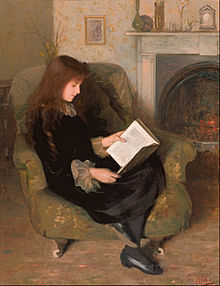 oil on canvas painting of a young woman in late Victorian dress, sitting in a chair by a fireplace, reading a book