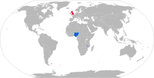 Fox armoured reconnaissance vehicle - Map of Fox operators in blue with former operators in red