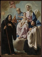 The Holy Family in Glory with Saints Francis of Paola and Aloysius Gonzaga