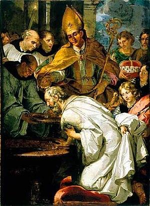 Rupert of Salzburg - Image: Franciscus de Neve (II) De H. Rupert doopt de Beijerse hertog Theodo