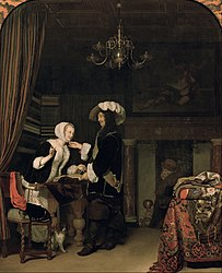 Frans van Mieris the Elder: Officer in a Cloth Shop