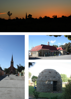 Top: skyline of Fraserburg at dusk. Left: the Dutch Reformed Church on the main street. Middle right: town's post office. Bottom right: a Corbelled House built by Trekboers before the town was established.