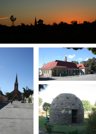 Fraserburg - Top: skyline of Fraserburg at dusk. Left: the Dutch Reformed Church on the main street. Middle right: town's post office. Bottom right: a Corbelled House built by Trekboers before the town was established.