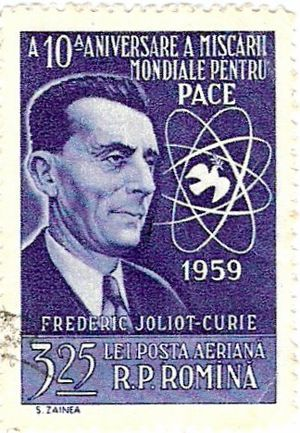 Frédéric Joliot-Curie - Stamp Issued by Romania commemorating Frédéric Joliot-Curie.