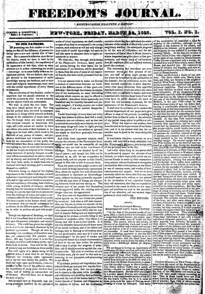 Freedom's Journal First Issue