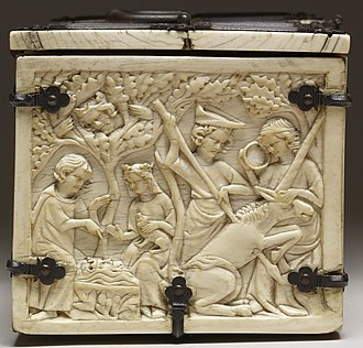 Casket with Scenes of Romances (Walters 71264) - End, with Tristan and Isolde talking, watched by King Mark in a tree, and a wounded unicorn
