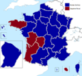 French presidential election (1. round) results (including overseas) by region, 2007.png