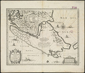 Le Maire Strait - 1633 map of Strait of Magellan, showing Strait Le Maire at the right, marked Fretum le Maire (Latin) and Straet Le Maire (Dutch)
