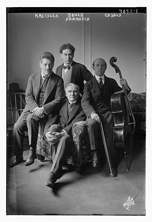 Pablo Casals - Fritz Kreisler, Harold Bauer, Casals, and Walter Damrosch at Carnegie Hall on March 13, 1917