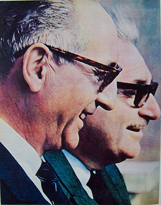 Integration and Development Movement - The founders of the MID, former President Arturo Frondizi and chief economic adviser, Rogelio Frigerio.