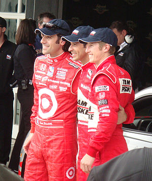 2009 Indianapolis 500 - Front row qualifiers (L to R): Dario Franchitti, Hélio Castroneves, and Ryan Briscoe.