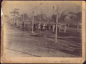 Photography in the Philippines - The execution by firing squad of José Rizal, December 30, 1896. This photograph (Fusilamiento de José Rizal) was taken by Manuel Arias Rodriguez, a Spanish creole.