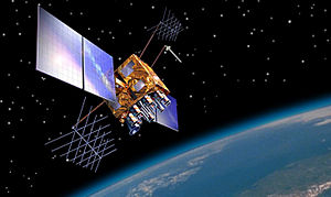 GPS satellite blocks - Artist's impression of a GPS-IIRM satellite in orbit.