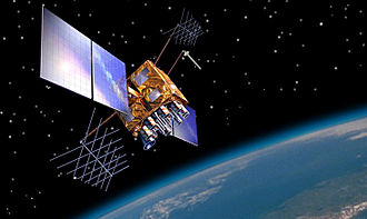 GPS satellite blocks - Artist's impression of a GPS-IIRM satellite in orbit.