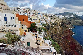 Santorini, a popular tourist destination, is ranked as the world's top island in many travel magazines and sites. GR-santorini-oia-2.jpg