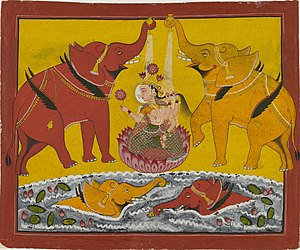 Lakshmi - Manuscript painting of Gaja-Lakshmi, ca 1780 AD.