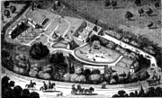 Bird's eye view of the Gardens of the Zoological Society, circa 1828