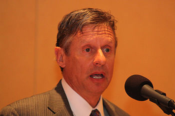 Former Governor of New Mexico Gary Johnson spe...