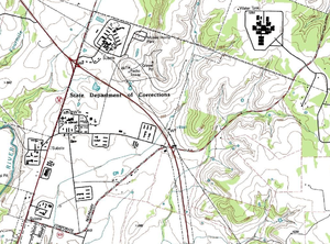 Mountain View Unit - Topographical map of the Gatesville prison units (Mountain View, Christina Crain, Hilltop, and Hughes), United States Geological Survey, 1994