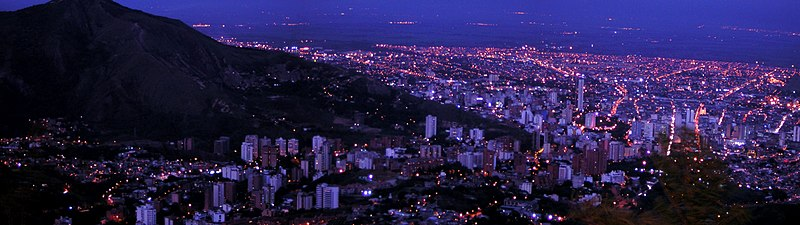 A panoramic showing of Cali, main city in western Colombia, where salsa is very popular.[99][100][101]