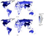 World map of GDP (Nominal and PPP). Figures are from the CIA World Factbook for 2007.