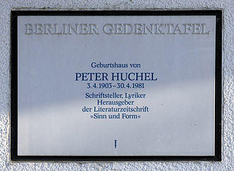 Peter Huchel - Berlin memorial plaque, Peter Huchel, Hindenburgdamm 32, Berlin-Steglitz, Germany