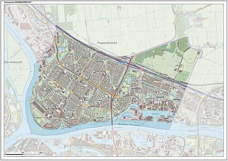 Papendrecht - Dutch topographic map of the municipality of Papendrecht, June 2015.