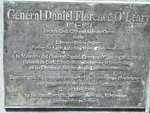 Daniel Florence O'Leary - Plaque below the bust of General Daniel O'Leary