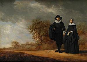 Gerard Donck - Burgomaster Cornelis Damasz. van der Gracht and his Wife, Jopken; portraits by Donck and landscape by Frans de Hulst.