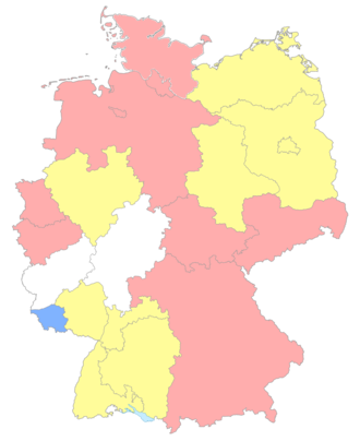 Landesliga - The Landesligas: Tier six (red) seven (yellow) and eight (blue) leagues. White denotes areas without Landesligas.