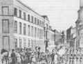 Gewapende spuitgasten verdedigen het gouvernementspaleis van Gent tegen de coup van Ernest Grégoire, 2 februari 1831.png