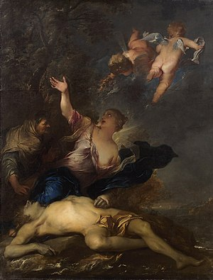 Hero and Leander - Hero mourns the dead Leander by Gillis Backereel
