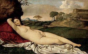 Figurative art - First known reclining nude in Western Art. Introduced the female nude as subject.