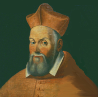 Papal legate - Cardinal Giovanni Francesco Commendone, sometime papal nuncio to Urbino, Ferrara, Venice, Parma, and England.