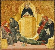 Giovanni di Paolo, Tommaso d'Aquino confonde Averroè (1445), Saint Louis, Art museum