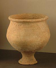 High-footed globular vase