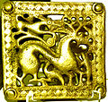 Gold scythian belt title from Mingachevir.JPG