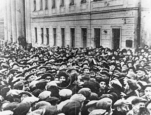Israel–Russia relations - Israeli ambassador to the Soviet Union Golda Meir surrounded by crowd of 50,000 Jews near Moscow Choral Synagogue on the first day of Rosh Hashanah in 1948.