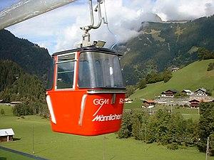 Grindelwald–Männlichen gondola cableway - Near Grindelwald Grund in summer