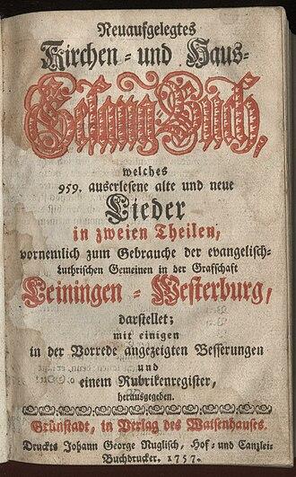 Grünstadt - Lutheran songbook, Grünstadt 1757