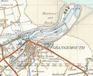 Grangemouth - A map of Grangemouth from 1945