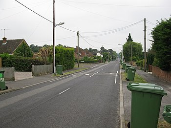 English: Green wheelie bin collection day, Col...
