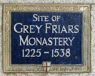 Greyfriars, London - Blue plaque marking the site of the London Greyfriars